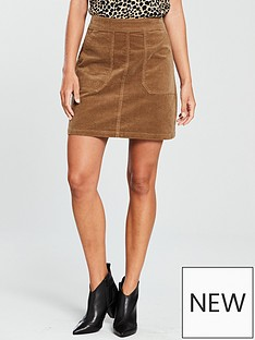warehouse-cord-pocket-detail-skirt-tan