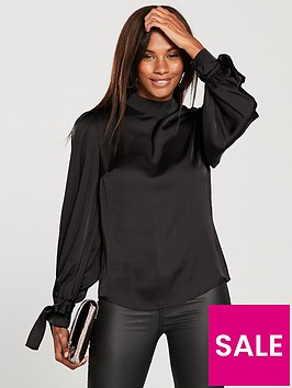 v-by-very-high-neck-bow-sleeves-blouse-black