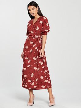 warehouse-honey-print-wrap-puff-sleeve-dress-rust