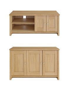 consort-tivolinbspnew-2-piece-package-ready-assembled-3-door-sideboard-and-wide-tv-unitnbsp-oak-effect