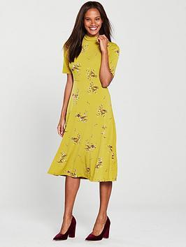 warehouse-ochre-floral-midi-dress