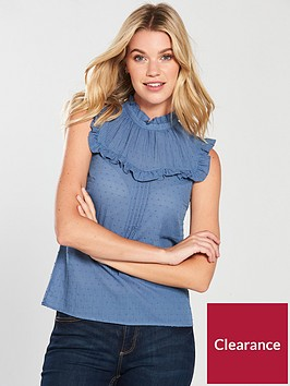 oasis-textured-dobby-high-neck-frill-top-navy