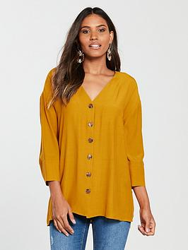 river-island-button-front-blouse-ochre