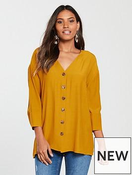 river-island-button-front-blouse-ochre