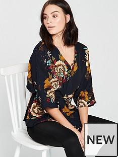 ax-paris-floral-printed-wrap-around-top-navynbsp