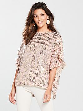 river-island-river-island-frill-sleeve-sequin-top-cream