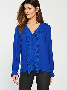 v-by-very-pleat-detail-blouse-blue