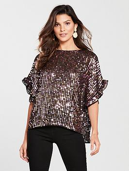 river-island-river-island-frill-sleeve-sequin-top-black