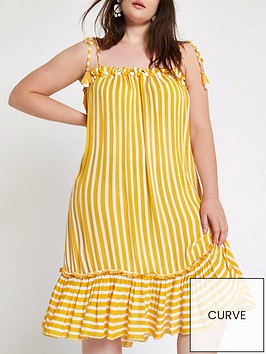 ri-plus-pomnbsppom-stripe-midi-dress-yellowwhite