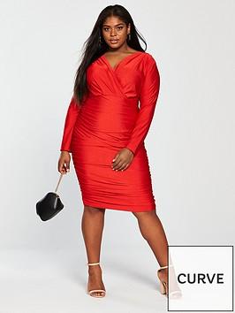 ax-paris-curve-long-sleeve-slinky-wrap-midi-dress-red