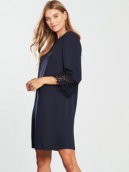 wallis-lace-cuff-shift-dress-ink