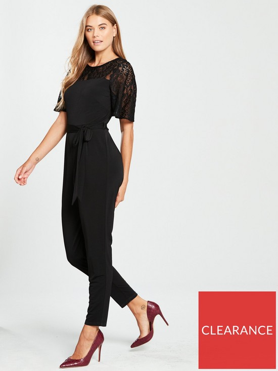 1c4fedc10069 Wallis Lace Yoke Jumpsuit - Black