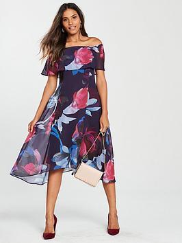wallis-floral-bardot-dress-purple