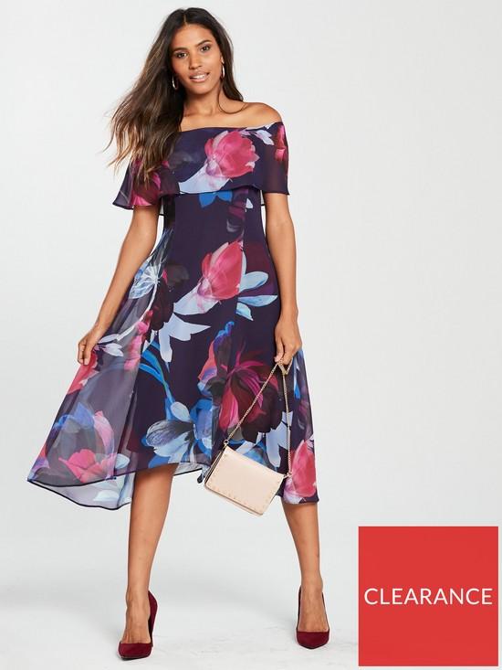 a3e9491a7157 Wallis Floral Bardot Dress - Purple