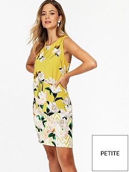 wallis-petite-zig-zag-floral-shift-dress-ochre