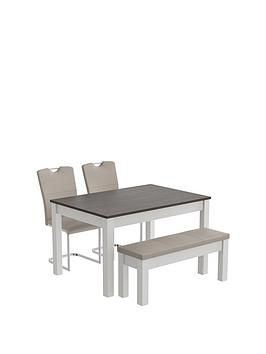 consort-tivoli-130-cm-dining-table-with-bench-2-cantilever-chairs
