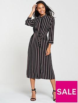 warehouse-stripe-midi-shirt-dress--blacktan