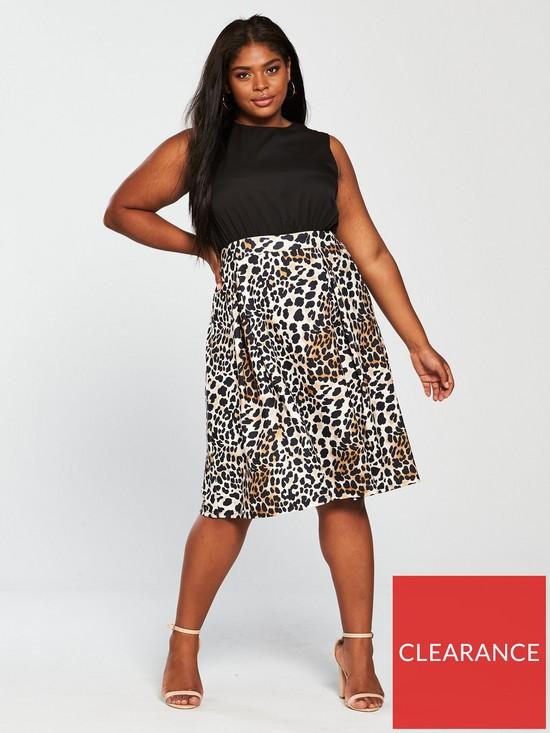 0d83502dd62a5 AX PARIS CURVE Curve 2-in-1 Midi Dress - Leopard Print | very.co.uk