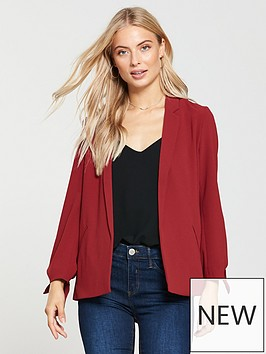 oasis-soft-tie-detail-blazer-mid-red