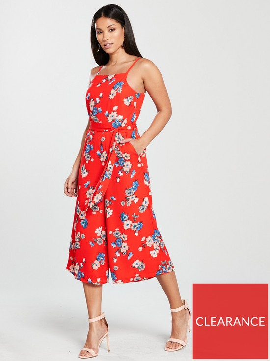 cc9652fe54 Oasis Foulard Floral Square Neck Jumpsuit - Mid Red