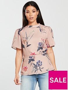 oasis-high-neck-angel-sleeve-top-printed