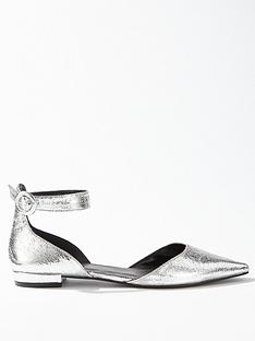 miss-selfridge-ankle-strap-pointed-flat-ballet-shoe