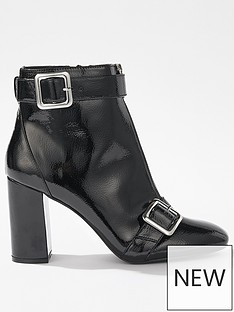 miss-selfridge-patent-buckle-heeled-boot-black