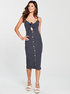 river-island-river-island-textured-button-front-midi-navy