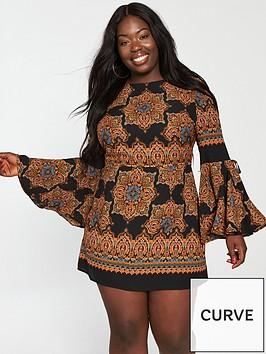 ax-paris-curve-bell-sleeve-dress-printed
