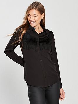 v-by-very-fringe-trim-button-blouse-black