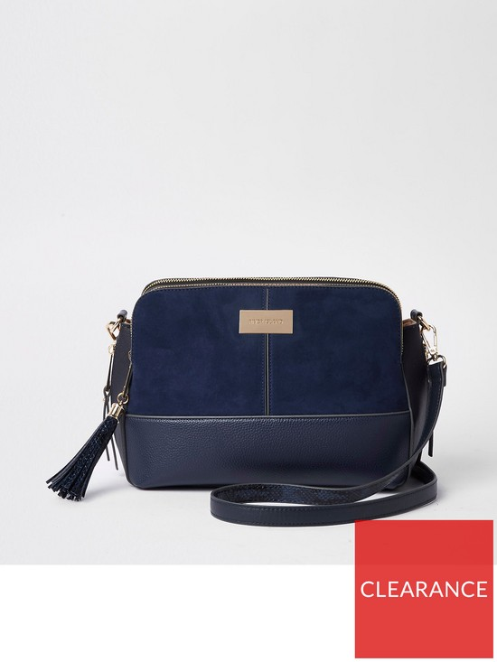 River Island Triple Compartment Crossbody Bag- Navy