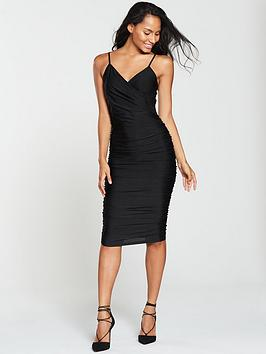 ax-paris-wrap-front-slinky-midi-dress-black