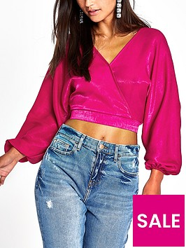 ri-petite-balloon-sleeve-cropped-top-pink