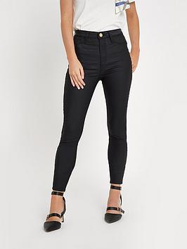 Ri Petite Harper Coated Skinny Jeans - Black
