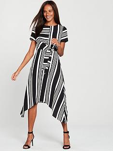 oasis-stripe-hanky-hem-dress-monochrome