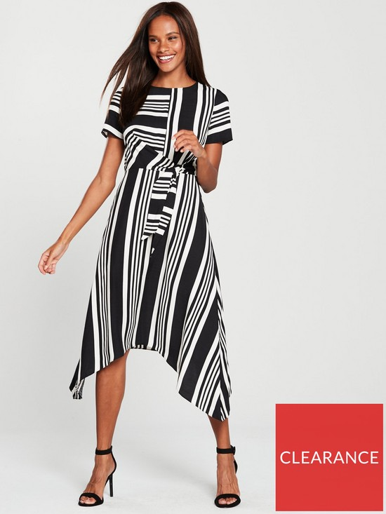 89ee55c4d2279 Oasis Stripe Hanky Hem Dress - Monochrome | very.co.uk