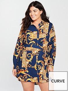ax-paris-curve-mirror-print-shirt-dress-navy