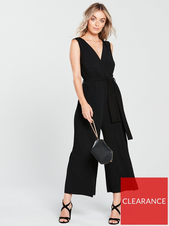 4351d7dac1a AX Paris Petite Pleated Trouser Slinky Culotte Jumpsuit - Black ...
