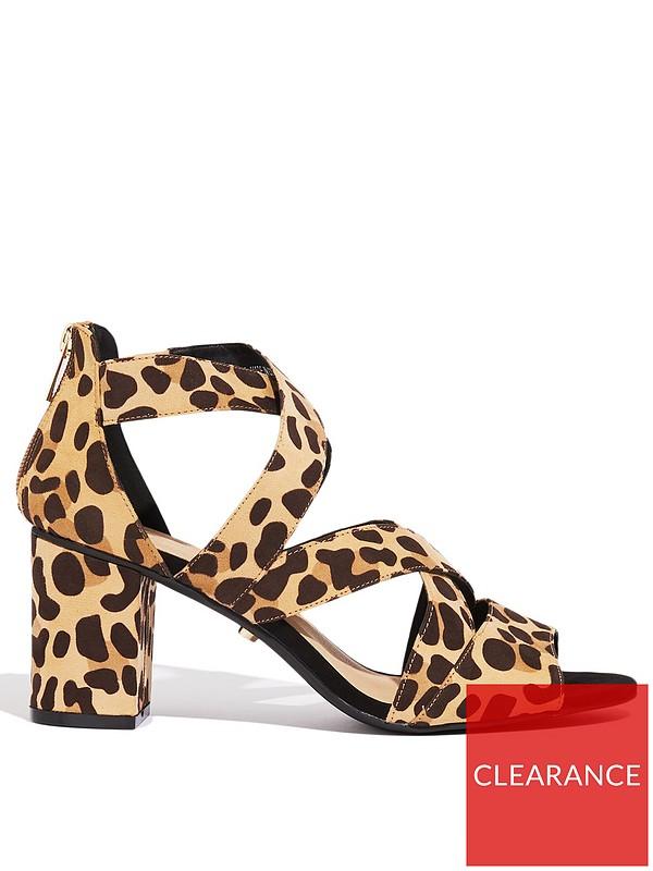 fe184ecc557 Oasis Sarah Strappy Block Heeled Shoe - Animal Print