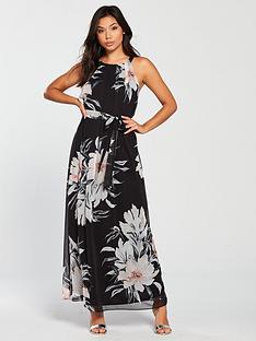 wallis-waterfall-floral-maxi-dress-black