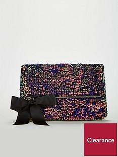 v-by-very-khloenbspsequin-foldover-clutch-multi