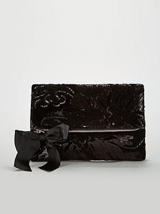 v-by-very-khloe-velvet-sequin-fold-over-clutch-black