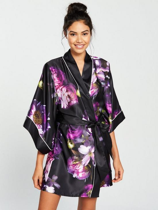 c4eeae71886f B By Ted Baker Sunlit Floral Kimono - Black Print | very.co.uk