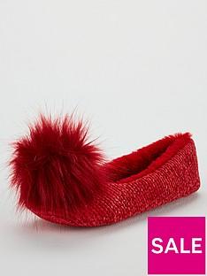 v-by-very-wick-pom-pom-ballerina-slippers-red