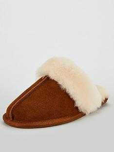 v-by-very-whistle-real-suede-sheepskin-mule-slippers-with-gift-box-brownwhite