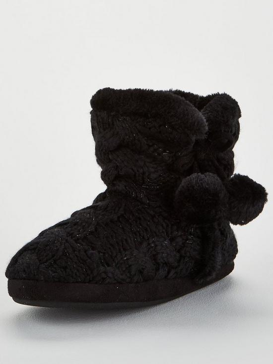 e47c0986d70 V by Very Winter Cable Knit Slipper Boots - Black
