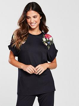 ted-baker-kensington-floral-jersey-pj-top-black