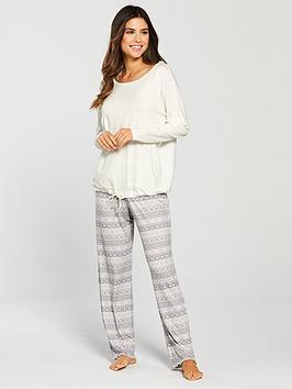 v-by-very-drawstring-top-and-legging-pyjama-set-creamgrey