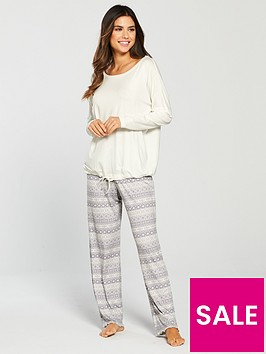 v-by-very-drawstring-top-and-legging-pyjama-set-creamgrey