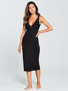 v-by-very-lacenbsptrim-midi-night-dress-blacknbsp
